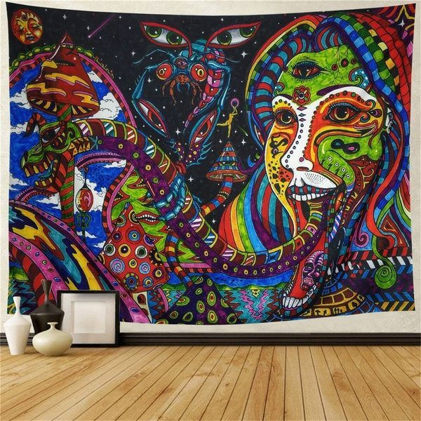 Colorful Tapestry Wall Tapestry Wall Hanging Psychedelic Tapestry Retro Pattern Hippie Mandal Colorful Tapestry Wall Tapestry Wall Hanging Psychedelic Tapestry Retro Patt...