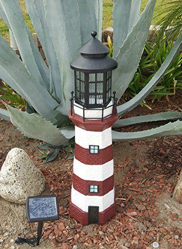 Garden Sunlight C5116B1 Solar Lighthouse Garden Decor, Re.