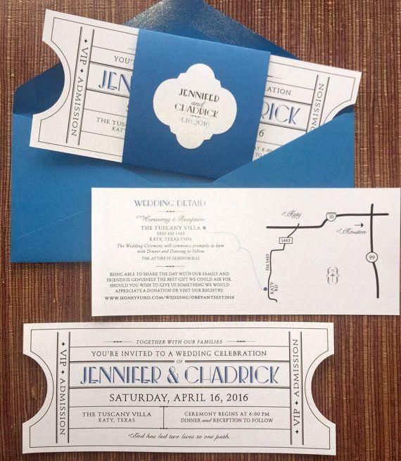 vintage ticket wedding invitation suite cinema film theater music
