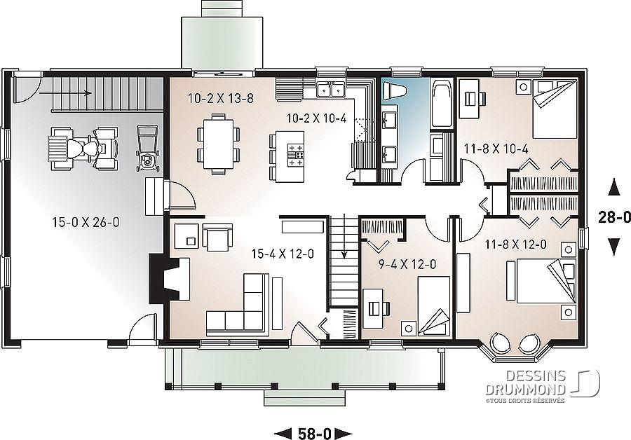 Plan De Maison Unifamiliale Bermond No 2236 Plan Maison 3