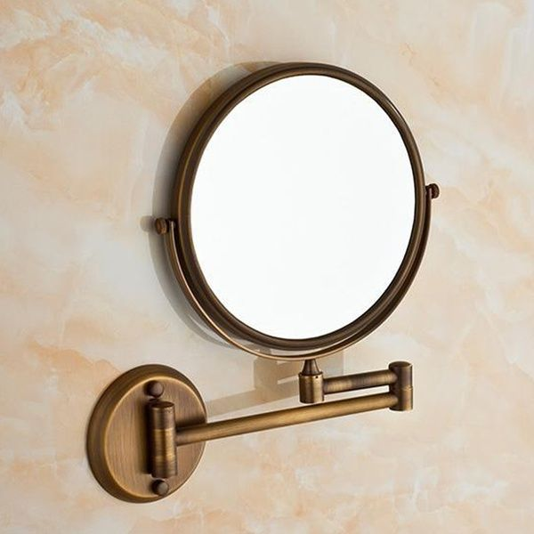 "Photo of Two-Sided Swivel Wall Mounted Makeup Mirror With 3X Magnification,Antique Brass,Bathroom products (8in,3x) (8"" *3X Magnification)  YT9102 