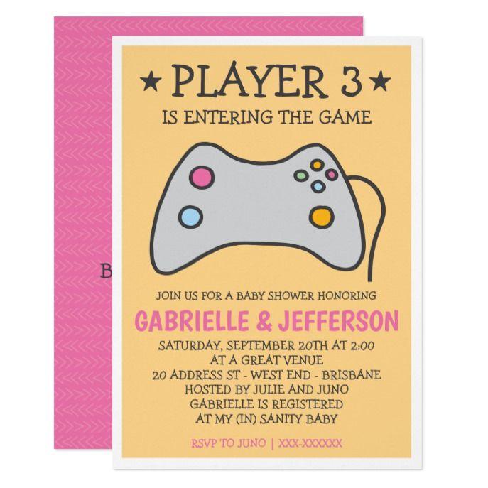 Video Game Computer Game Baby Shower Invitation Custom Baby