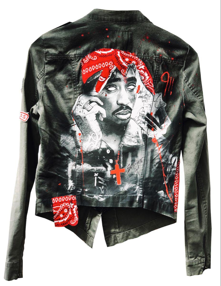 Women S Jeans Jacket With Handmade Tupac Design Bandana Etsy Jean Jacket Women Coloured Denim Jacket Jackets [ 1200 x 928 Pixel ]