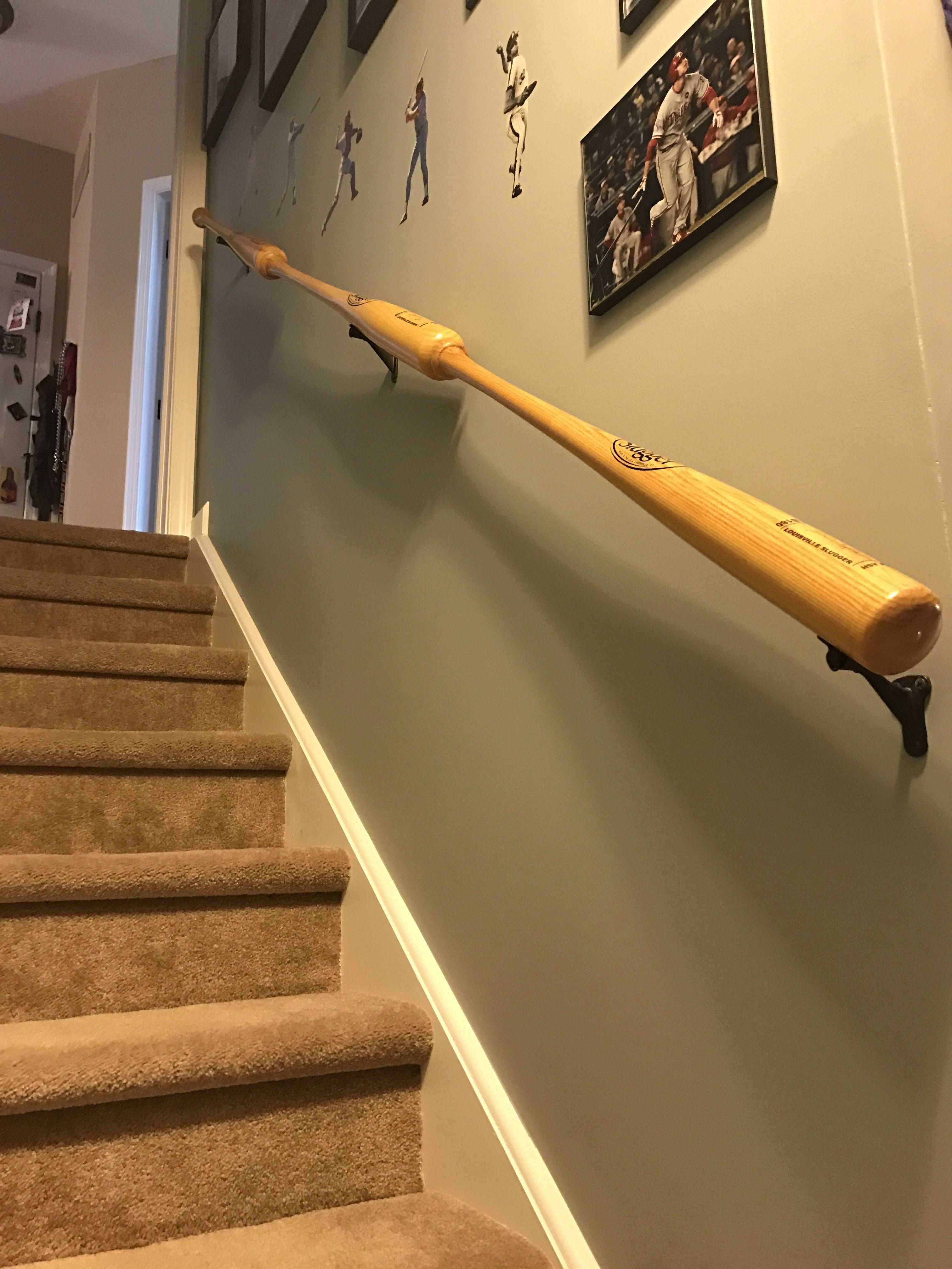 Baseball Bat Basement Railings Baseballbats Baseball Basement Man Cave Home Bar Baseball Man Cave
