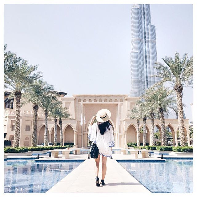 So in love with the architecture of this magical city! @burjkhalifa I see you ✨ -- Outfit details: @status_anxiety / @alicemccallptyltd @mydubai | #MyDubai