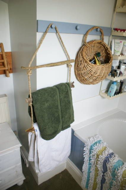 towel rail using drift wood and old rope.  Maybe in summertime for pool towels