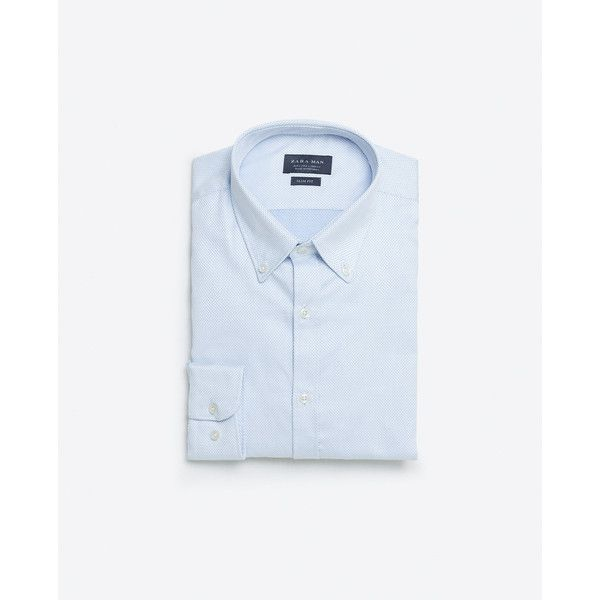 Zara Two-Tone Shirt (5495 RSD) ❤ liked on Polyvore featuring men's fashion, men's clothing, men's shirts, men's casual shirts and sky blue