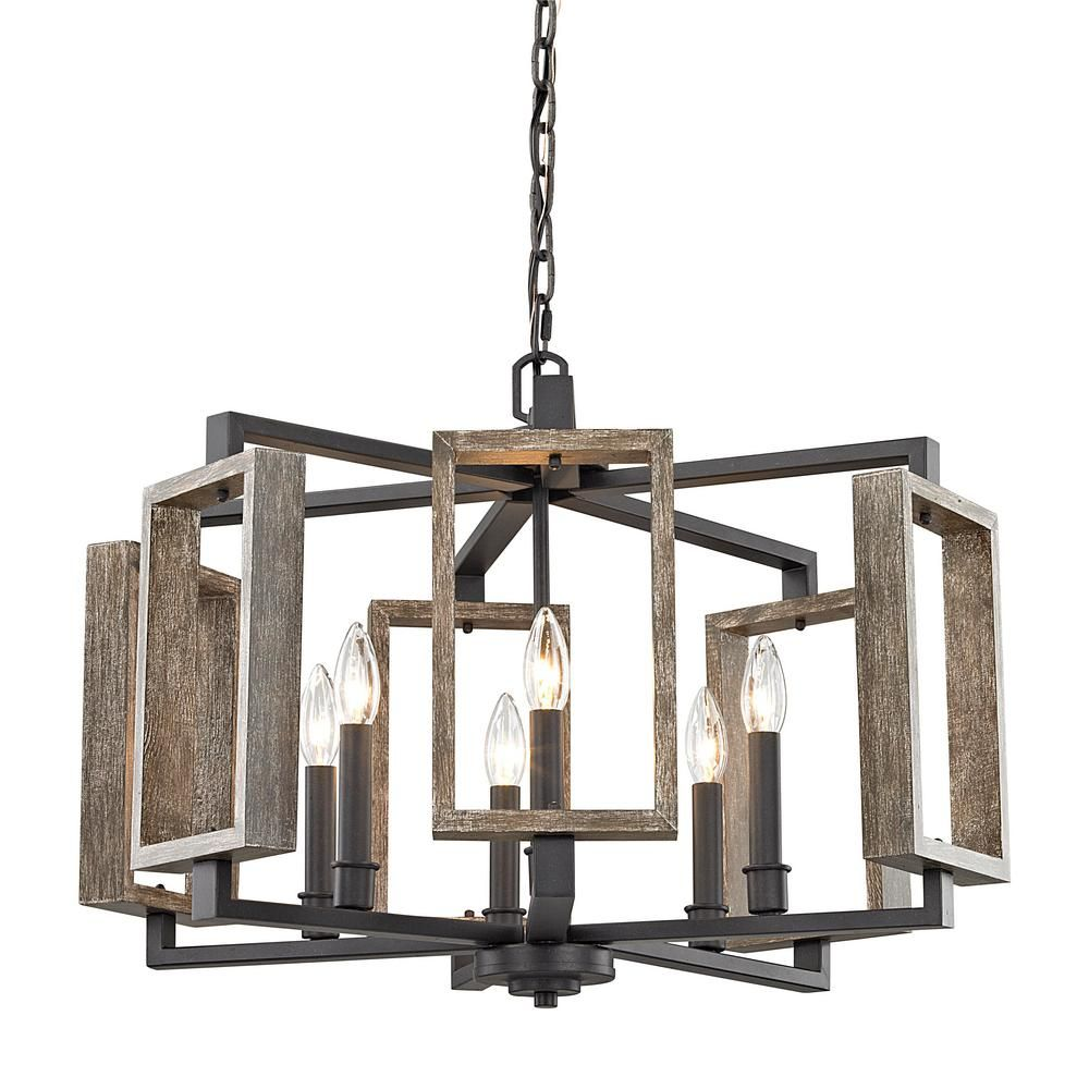 Home Decorators Collection 6 Light Aged Bronze Pendant With Wood Accents