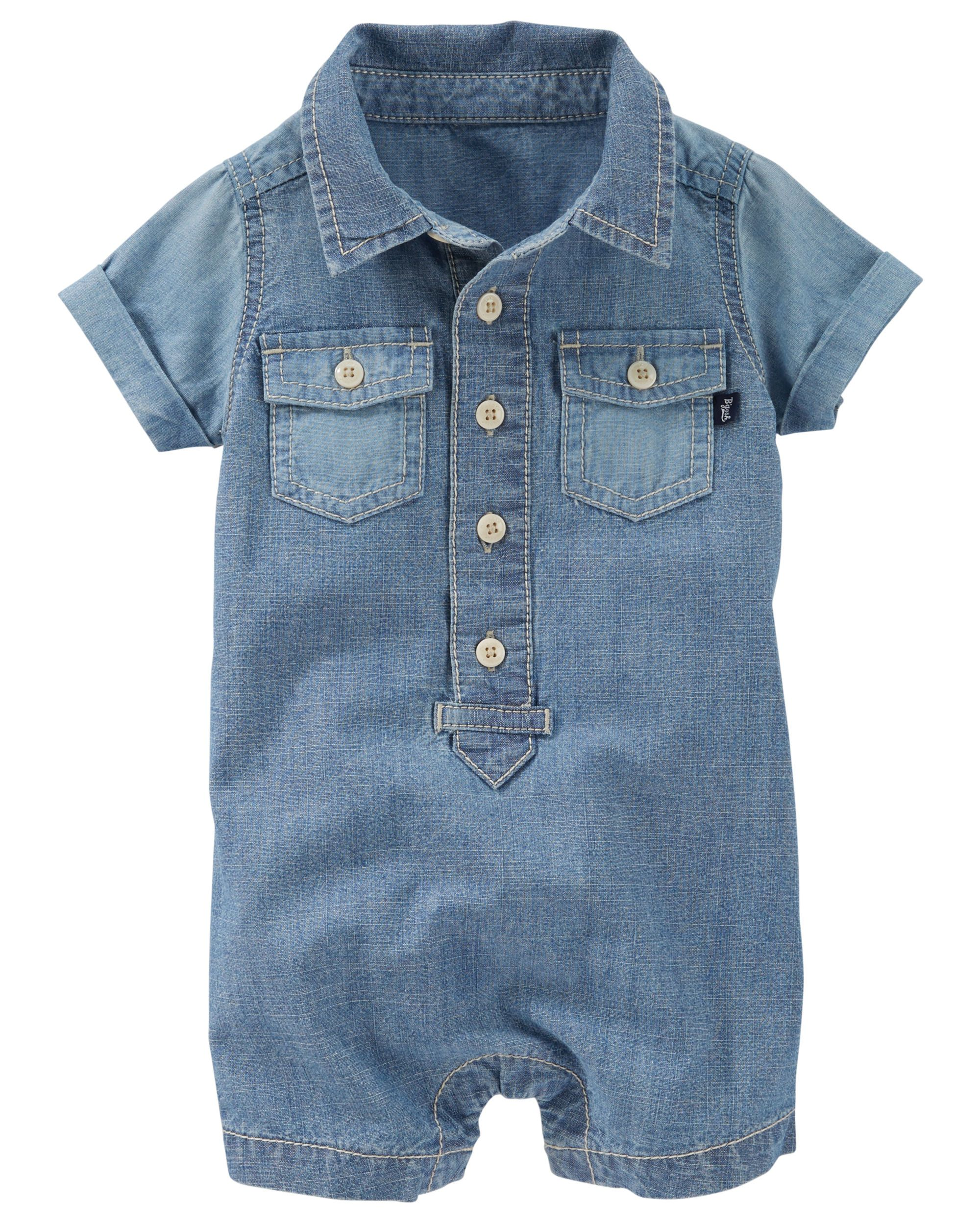 0fae02bd72dc Baby Boy Chambray Romper. Featuring two pockets