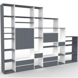 Photo of Wohnwand Weiß – Individuelle Designer-Regalwand: Schubladen in Anthrazit & Türen in Anthrazit – Hoch