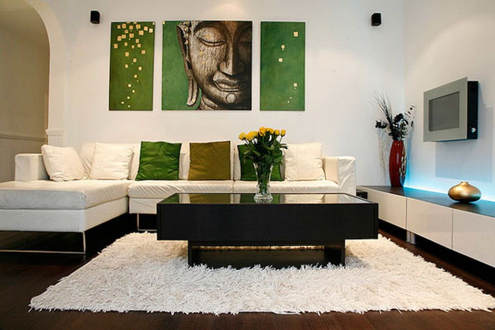 Buddha Painting In A Modern Minimalist White Based Living Room
