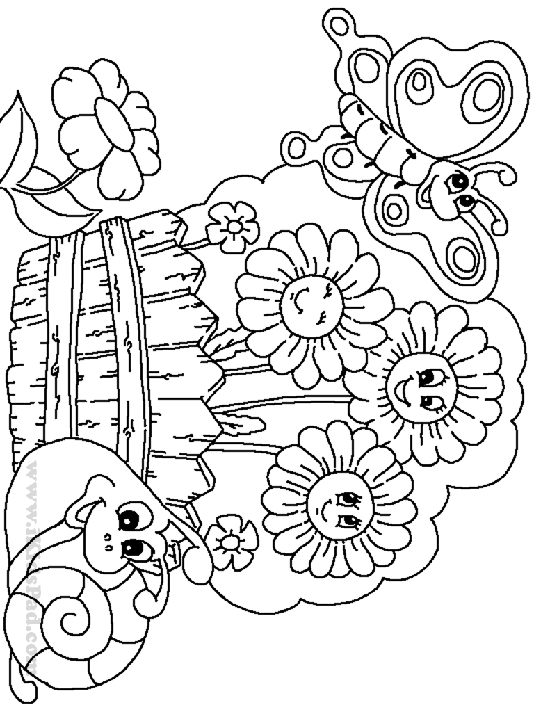 Colouring in pages for girls butterflies - Butterfly Garden Coloring Pages Gallery Of Garden Coloring Pages
