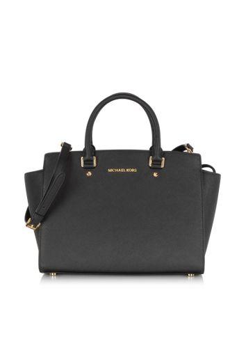 c71f11205eeed9 Michael Kors Selma Large Top-Zip Saffiano Leather Satchel   Bags ...