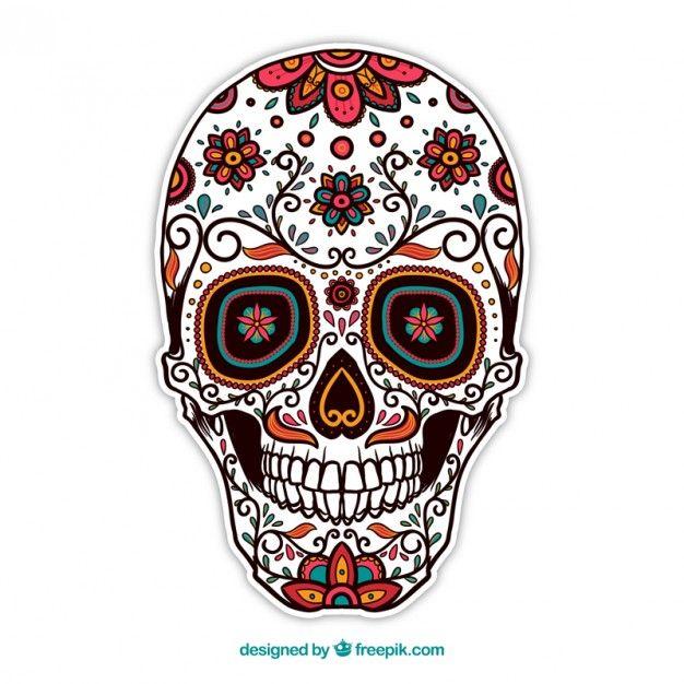 calavera de azcar ornamental Vector Gratis  tattos  Pinterest