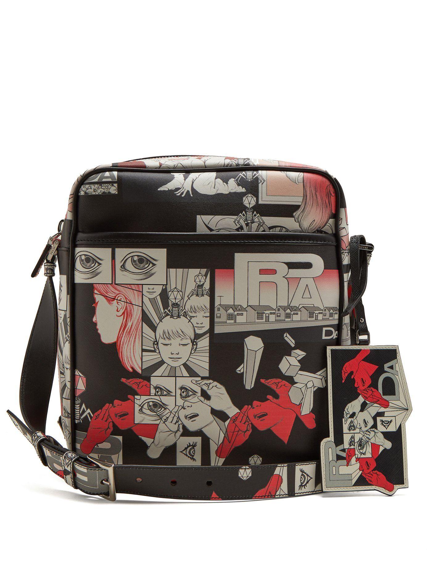 43c01ea341fd Prada Comic-strip print leather messenger bag | Bags | Prada ...