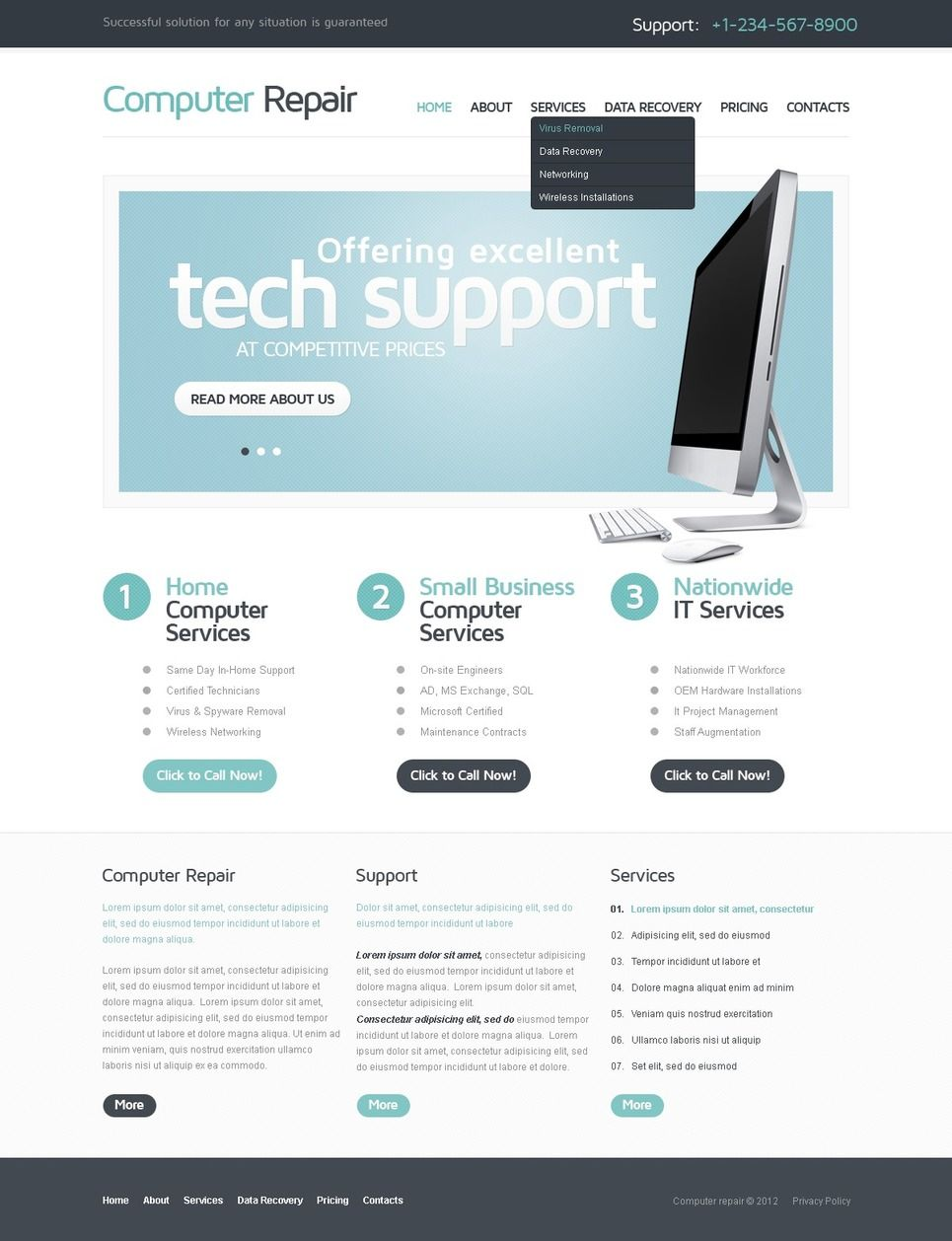 Computer Repair Responsive Website Template Flyer Templates Layout