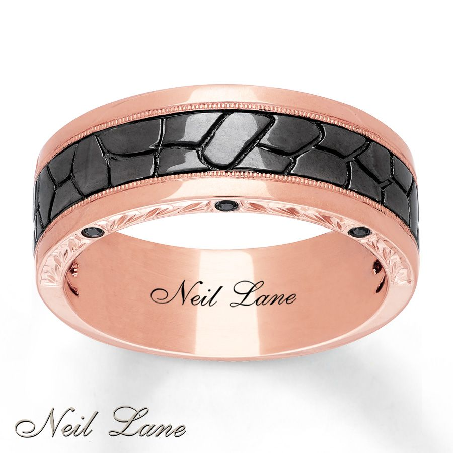 This Handsome Men S Wedding Band From The Neil Lane Collection Combines A Pattern Of Black