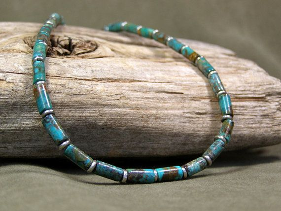 mens necklace turquoise necklace beaded by