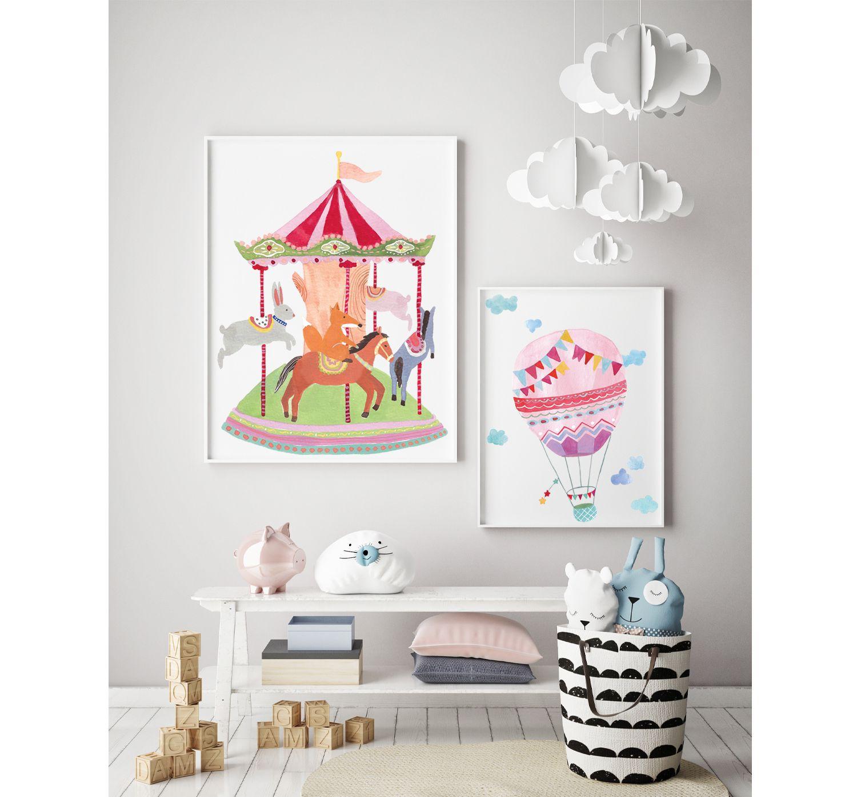 Hot Air Balloon Print Art Print Nursery Print Wall Decor Baby