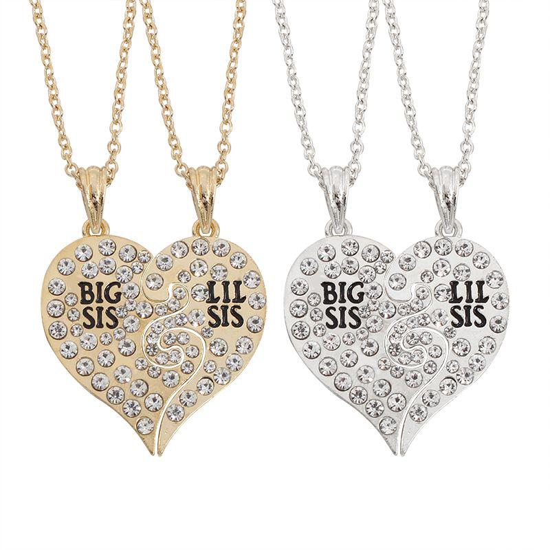 2 개/대 큰 Sis 릴 Sis 언니 여동생 최고의 자매 영원히 깨진 심장 모조 다이아몬드 펜던트 목걸이 선물