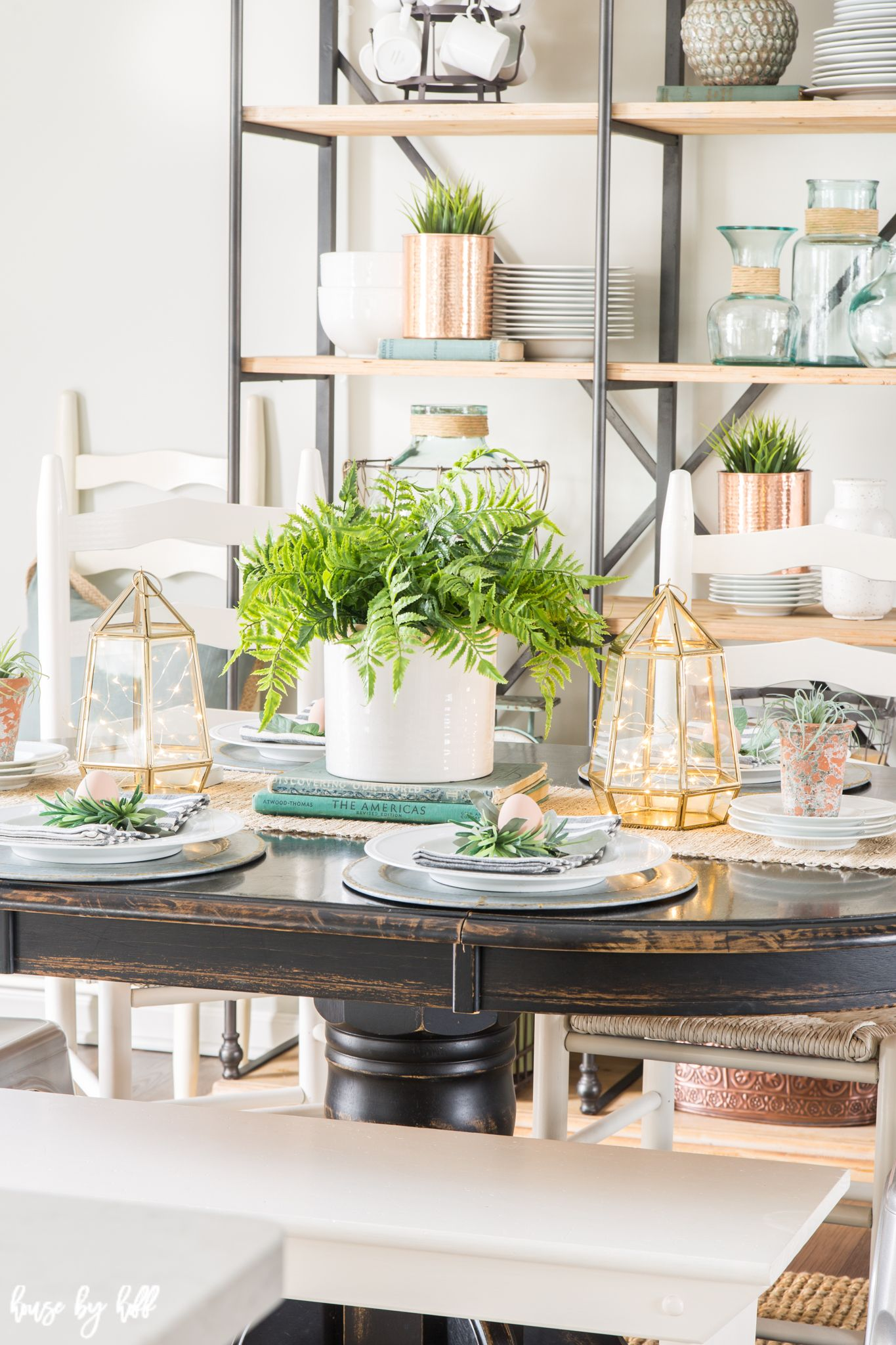 Bright Spring Dining Room And Tablescape House By Hoff Dining Room Table Centerpieces Spring Home Decor Fake Plants Decor
