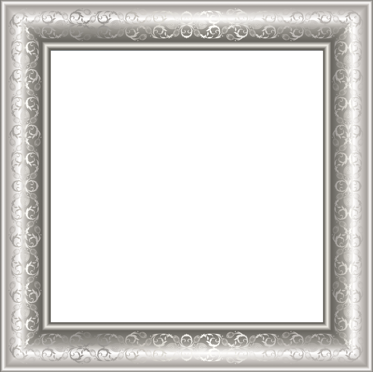 silver transparen png photo frame with ornaments