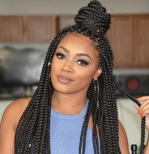 50 exquisite box braids hairstyles to do yourself half bun hair 50 exquisite box braids hairstyles to do yourself solutioingenieria Images