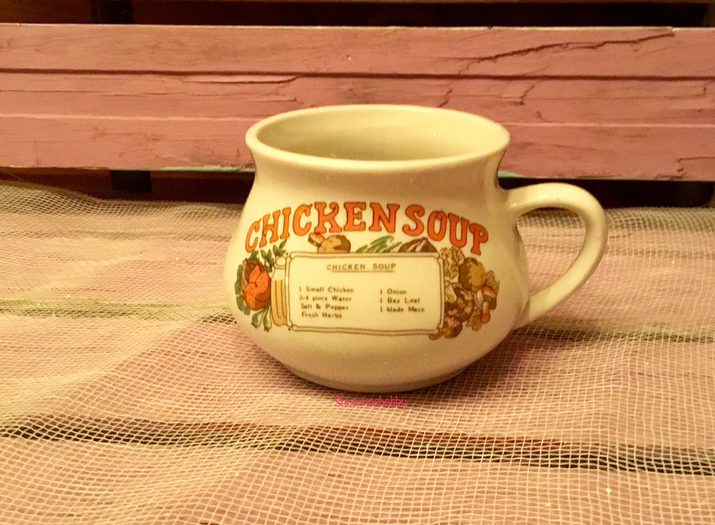Vintage Soup Bowl Collectible Dinnerware Chicken Soup Mug Cup Bowl w ...