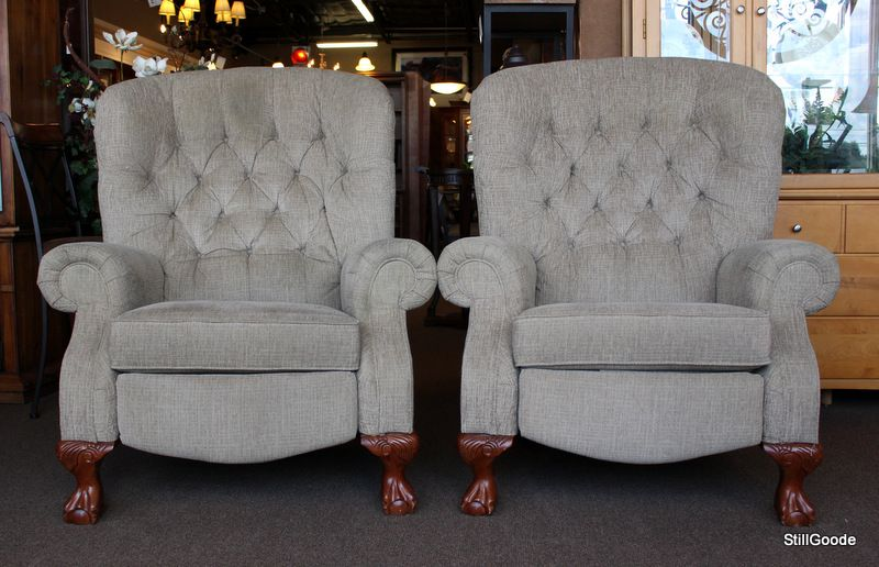 Pair Of High Leg Tufted Back Lazy Boy Designers Choice Recliners