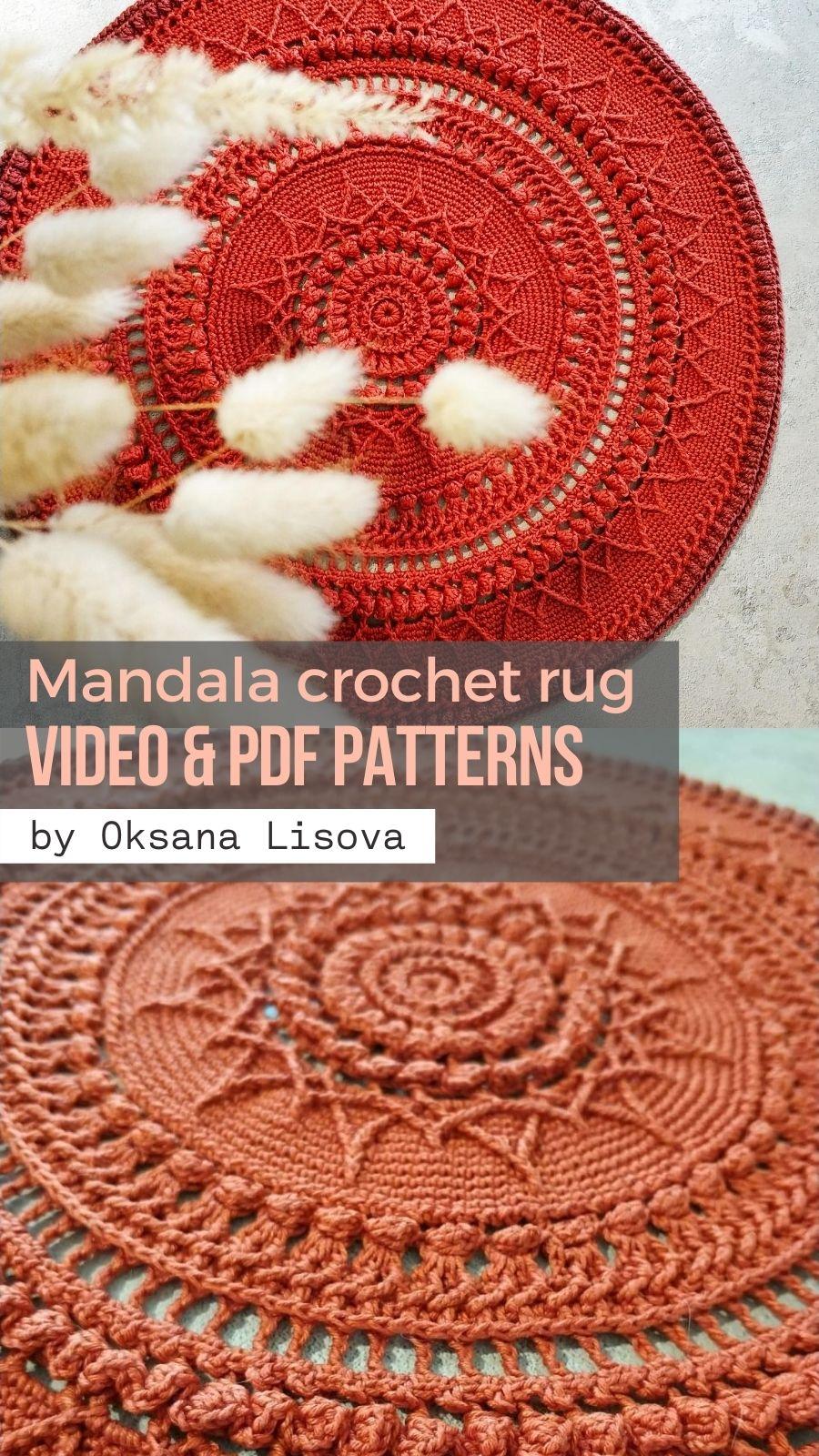 Mandala Crochet Rug Veles By Lisova Oksana Video Pdf Tutorials In 2020 Crochet Rug Crochet Mandala Rugs