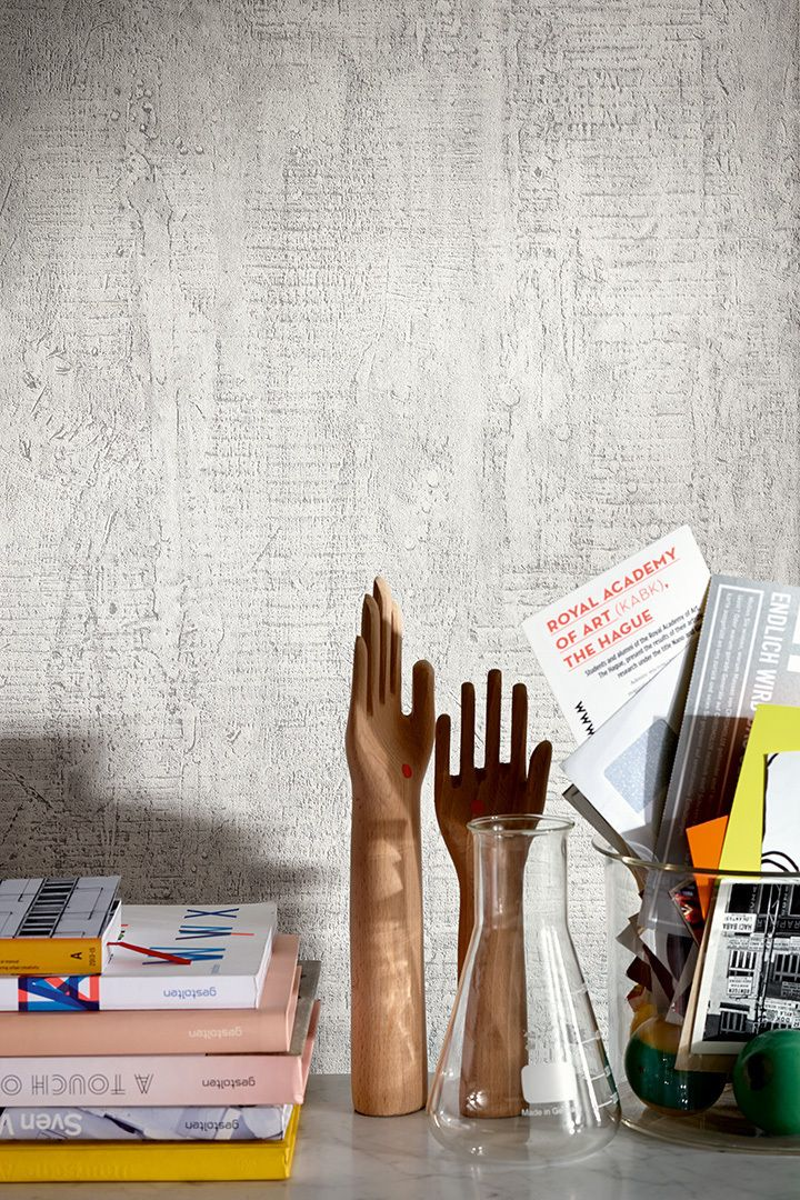Wischtechnik in zarten Grautönen aus der u0027u0027Schöner Wohnen 6 - tapete modern