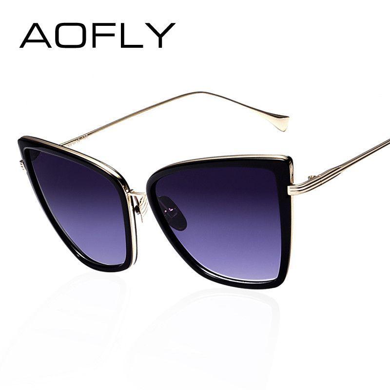 Aofly new mujeres de la manera gafas de sol cat espejo gafas cat eye  sunglasses mujeres diseñador de la marca de alta calidad de metal square  estilo b96bc4835e49