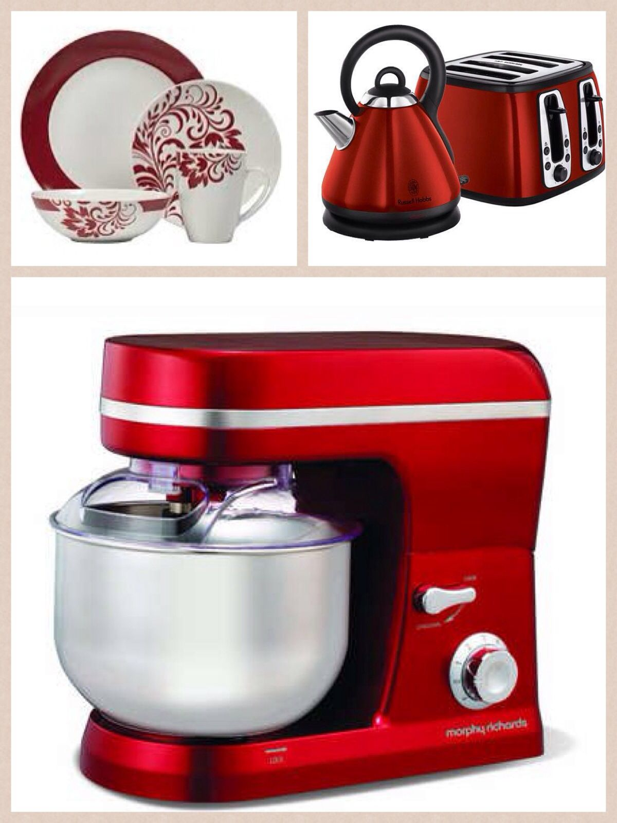 Marvelous Red Appliance And Dinner Set