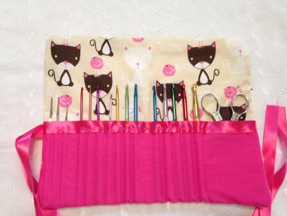 Crochet Hook Case Kitty Cat Design on Etsy, $20.00