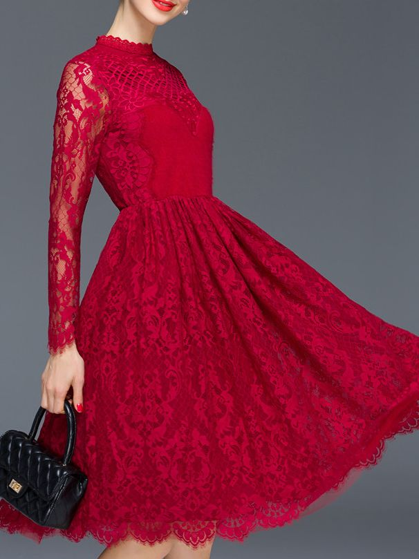 Wine Red Round Neck Long Sleeve Embroidered Lace Dress Embroidered Lace Dress Red Lace Dress Lace Dress
