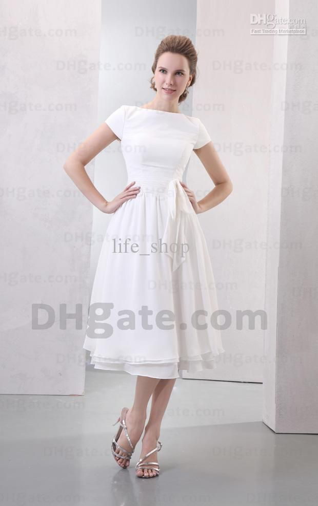 ad9f07b6b7b73 Wholesale Tea Length Beach Cheap Wedding Dresses Bateau A-line Short ...