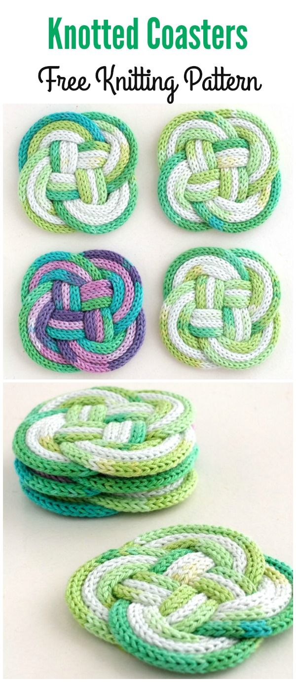 Knotted Coasters Free Knitting Pattern | Craft Ideas in 2018 ...