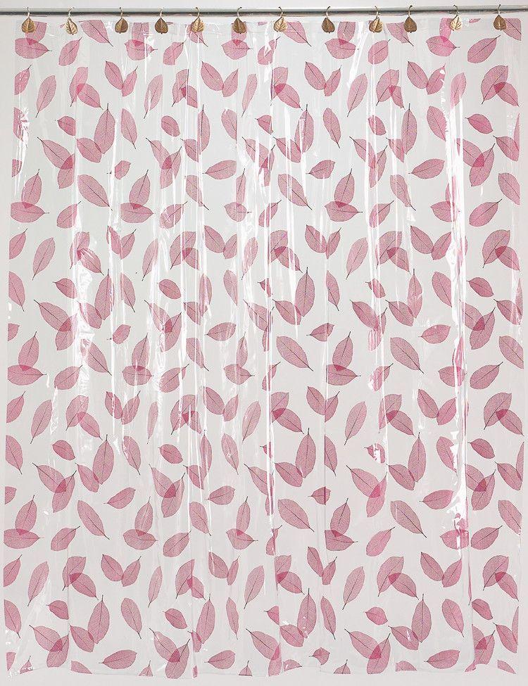 "Royal Bath Autumn Leaves 5 Gauge Vinyl Print Shower Curtain Liner (72"" x 72"") - Burgundy"