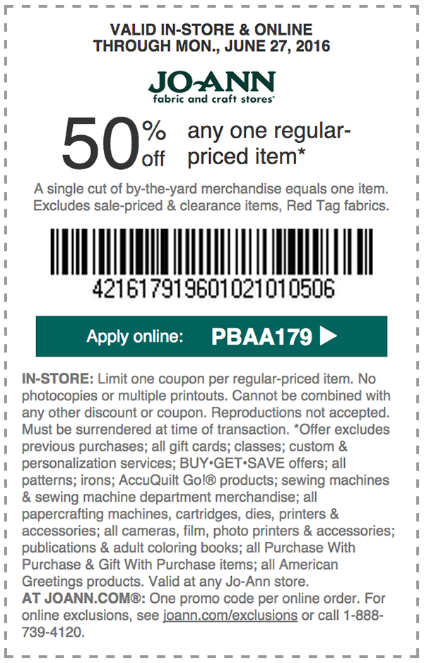 Jo-Ann Fabrics - New coupon! 50% off any one regular priced