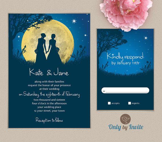 Lesbian Wedding Invitation Printed