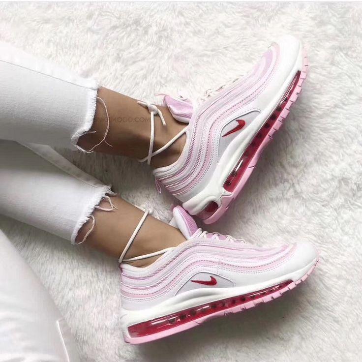2018 Echte Frauen Nike Air Max 97 Peach Blossom Red White