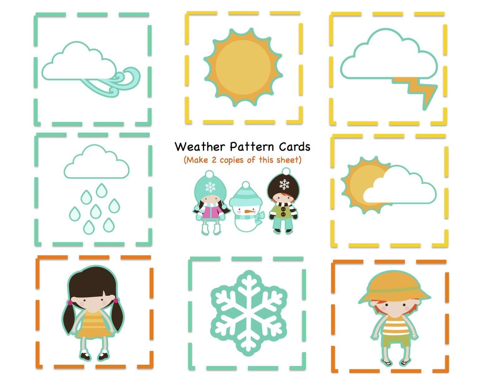 Preschool Printables: Weather Kids Number & Pattern Cards | Work ...