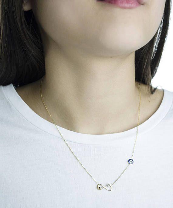 14k Greek Evil Eye Infinity Symbol Hearts Necklace14k Yellow Solid