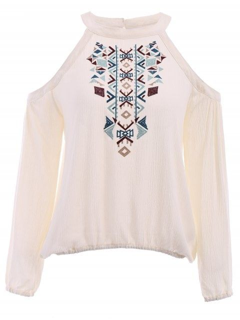 aec25e47d3b Long Sleeve Cut Out Embroidered Blouse | Style | Embroidered blouse ...
