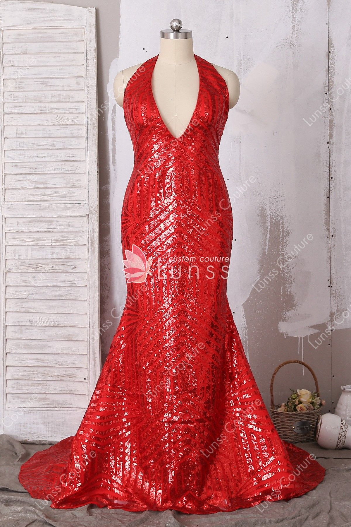 6cadcaf99c0c Red Halter Plunging Bombshell Pattern Sequin Long Prom Dress with Open Back