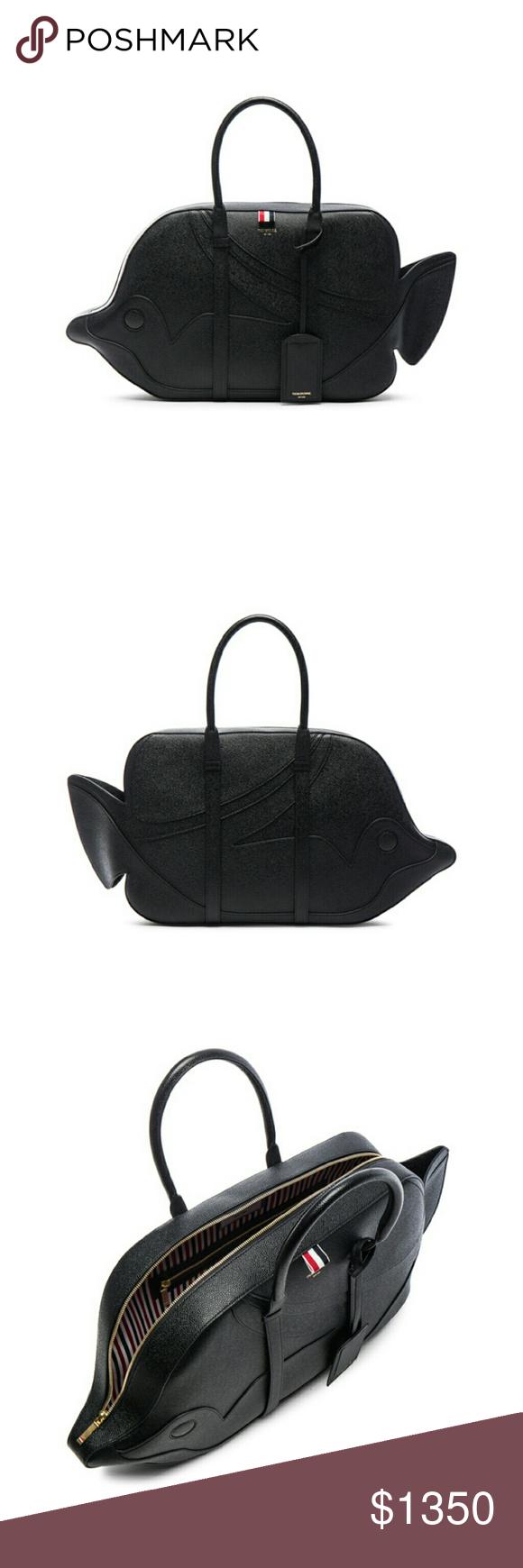cd9f33687 Thom Browne Tiger Reef Fish Bag Black Leather Black leather 'Tiger Reef Fish'  bag