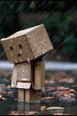 Cute Amazon Box Robot Wallpaper Sad Little Box Man In The Rain Box Fun Danbo Amazon