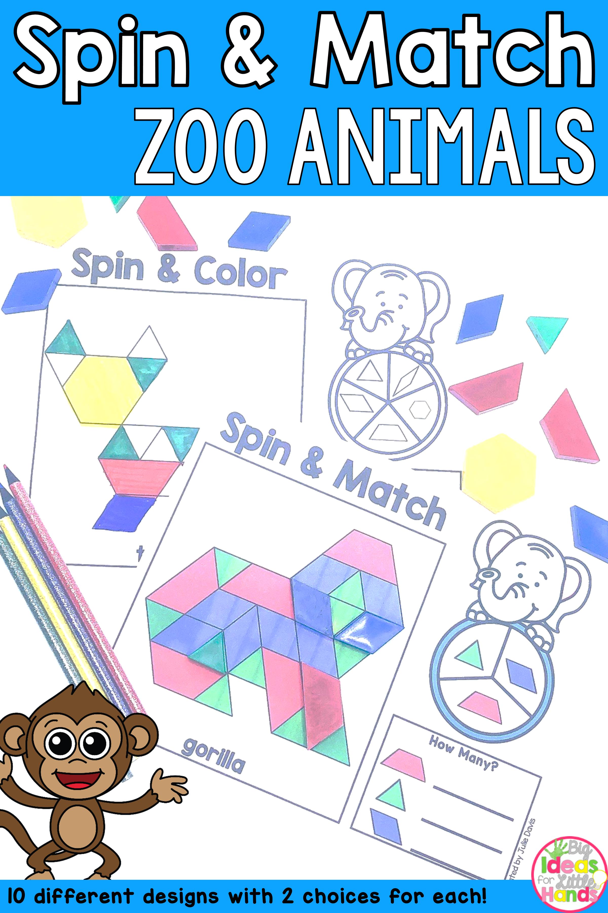 Pattern Blocks Mat Zoo Animals Math Center