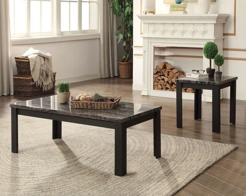 Best Acme 82134 3 Pc Arabia Black Finish Wood Faux Marble 400 x 300