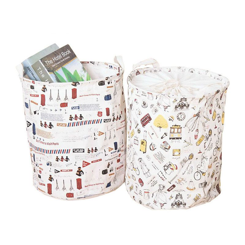 Cotton Linen Folding Laundry Baskets Round Shape Clothes Toy Storage Wash Bags Familly Or Fabric Boxes Diy Storage Bags For Clothes Home Storage Organization